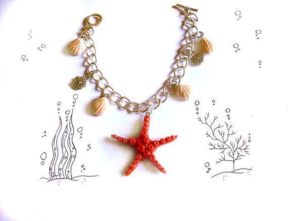 Bracciale grande stella marina rossa con conchiglie in porcellana fatto a mano, estate spiaggia mare donna ragazza matrimonio