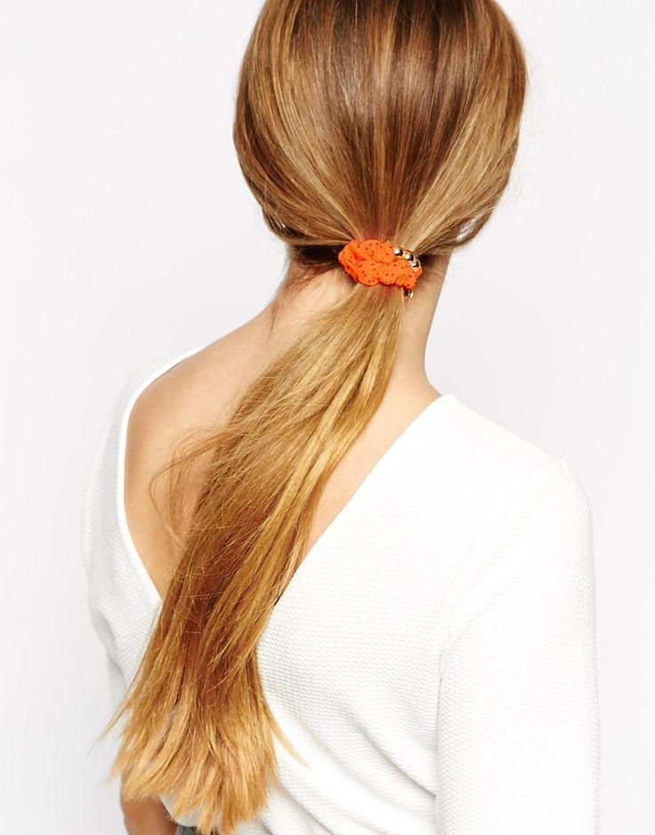 Johnny Loves Rosie Orange Polka Dot Hair Scrunchie With Beads