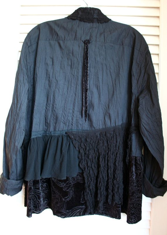Recycled Embellished Lagenlook Menswear Shirt Blouse
