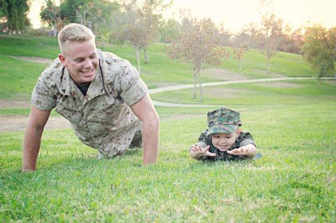 military daddy and son