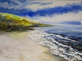 Beach, 22x30 watercolor (SOLD) by Annie Strack