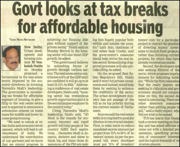 Government looks at Tax Breaks for Affordable Housing.