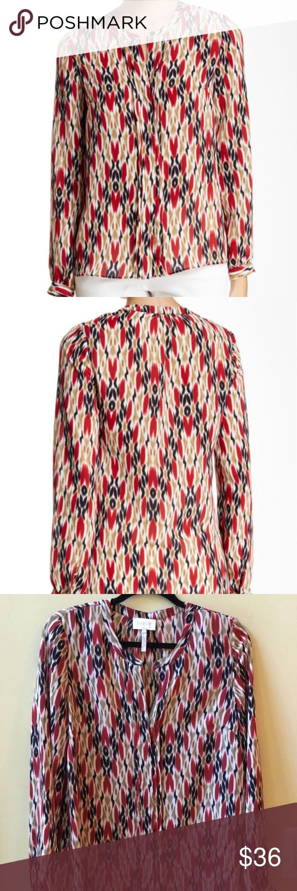 """NWT LAUNDRY SHELLI SEGAL PRINTED BLOUSE SIZE 10 NWT LAUNDRY BY SHELLI SEGAL SIZE 10 CHEST: 40"""" ARMPIT TO ARMPIT: 20"""" LENGTH: 27"""" BEIGE, BLACK, WHITE AND RED BLOUSE SPLIT NECK WITH FIVE HIDDEN BUTTON FRONT ONE BUTTON AT NECK  LONG SLEEVES PLEATED IN FRONT SIDE SLITS 100% POLYESTER  MACHINE WASH COLD  MSRP:$79 Laundry By Shelli Segal Tops Blouses"""
