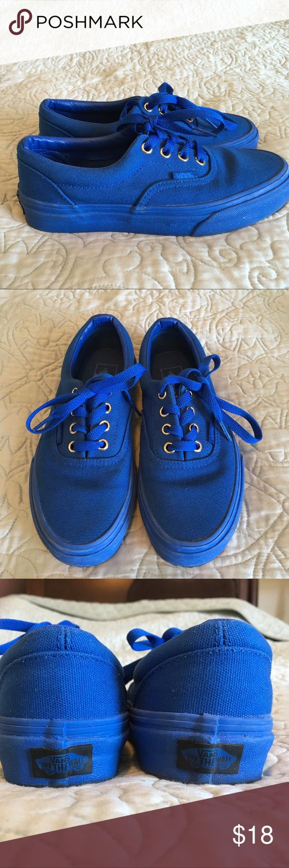 Vans Blue Boys size 4 - New Boys Vans Blue shoes size 4. My son only wore them once. Great condition and very stylish! Vans Shoes Sneakers