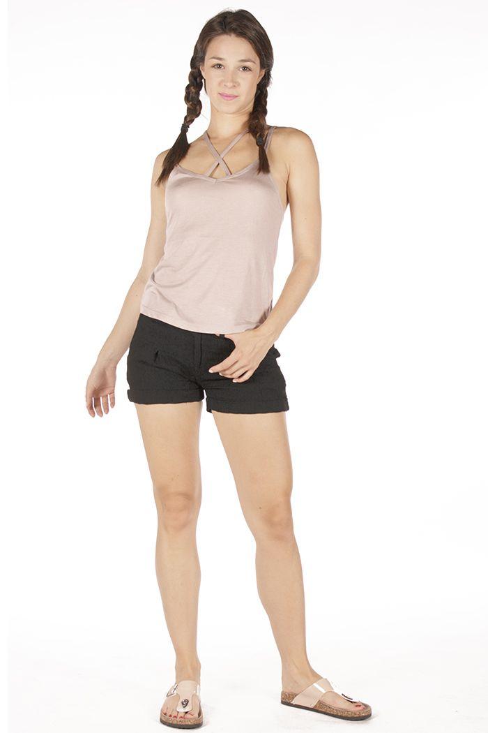 Girly look Black shorts, dusty pink top  Badila with love