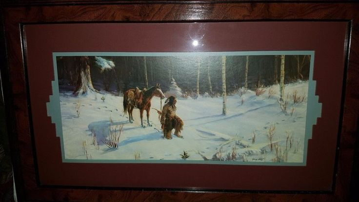 NATIVE AMERICAN PRINT WITH HORSE SNOW SCENE BY HOME DECOR 16 X 24 FRAME MATTED #HOMEDECORE #OutsiderArt