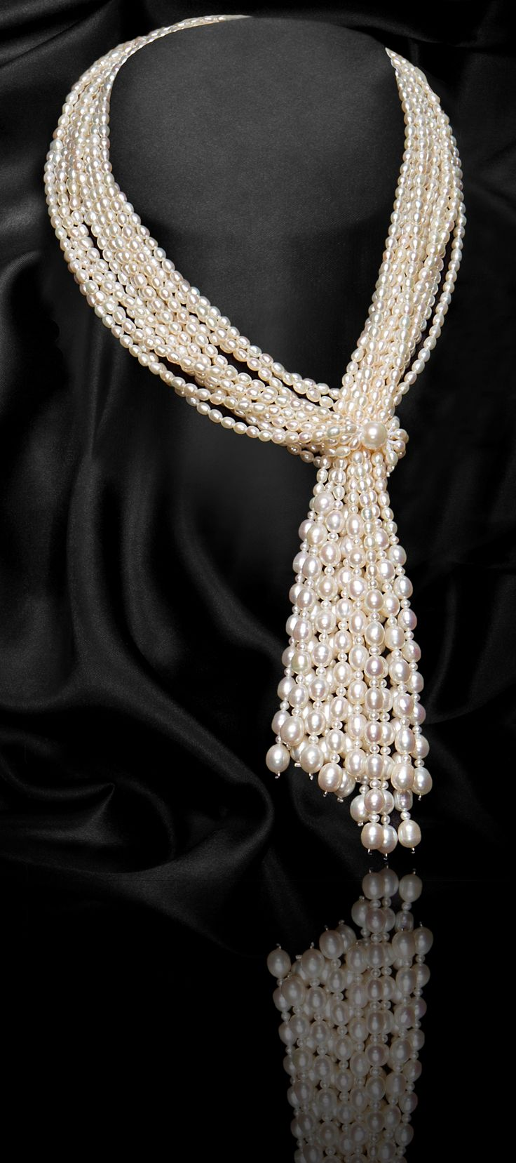 WHITE MULTI-STRAND SCARF SHAPE FRESHWATER PEARL NECKLACE 1st Year Anniversary Offer 50% OFF! Till 30th April £320 https://www.glamconfidential.com/p/multi-strand-scarf-shape-freshwater-pearls-necklace-white--gcfp1007w/107.html#1