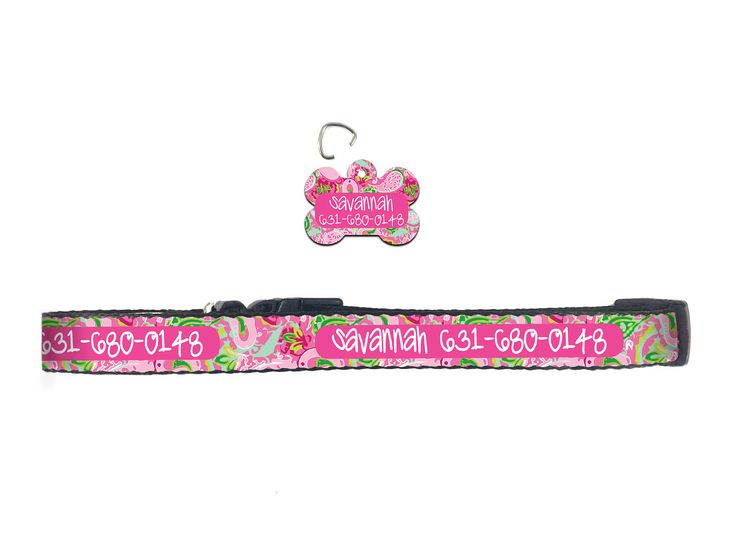 Preppy Dog Collar Lilly Inspired Personalized Dog Collar Dog Tag Pet ID Tag Combination Set Custom Gifts for Pet Lovers Pet Accessories by ChicMonogram on Etsy