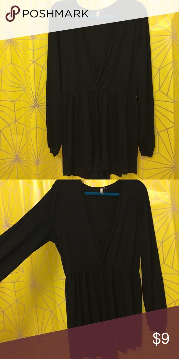 Asos black long sleeved romper Black long sleeve romper from asos with flattering gathered waist and crossed neckline. ASOS Dresses