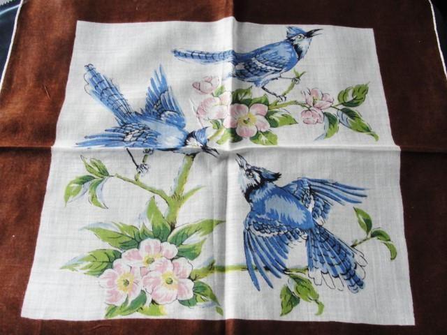 BEAUTIFUL Vintage Printed Hanky BIRDS Hankie BlueJays Blue Birds Handkerchief Lovely To Frame