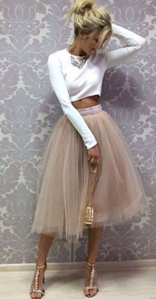 tulle skirt with white crop top