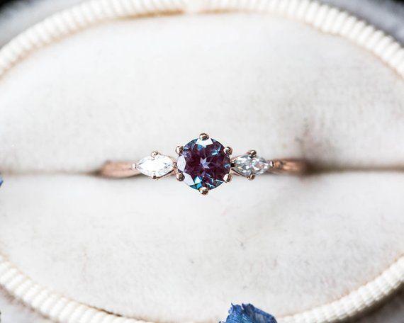 Alexandrit Moissanite Zweig Verlobungsring, Alexandrit Verlobungsring, 14ct …   – Schmuck