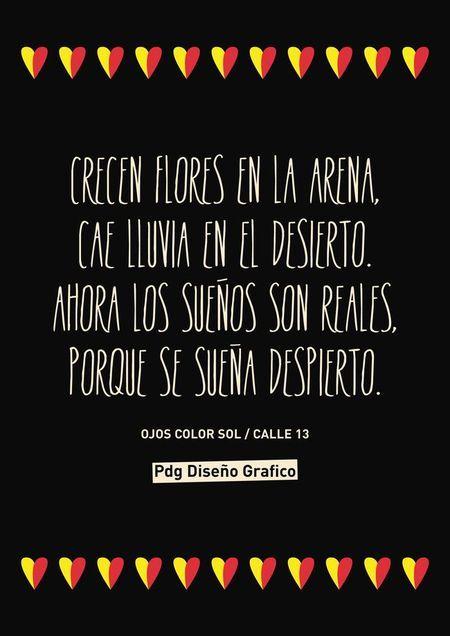 #Frases #Canciones Ojos color sol Calle 13 Pdg Diseño Gráfico
