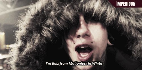 GIF - Josh Balz - Motionless In White   my first thought was 'IT'S FRANK FROM  THE YO GABBA GABBA EPISODE'  butitisnt <3