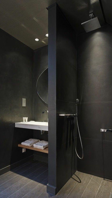 Les 25 meilleures id es de la cat gorie salles de bain - Poubelle salle de bain noire ...