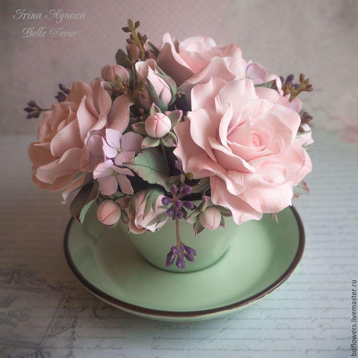 Купить Цветочная композиция в чашечке (кремово-мятная) - кремовый, полимерная глина deco, полимерная флористика