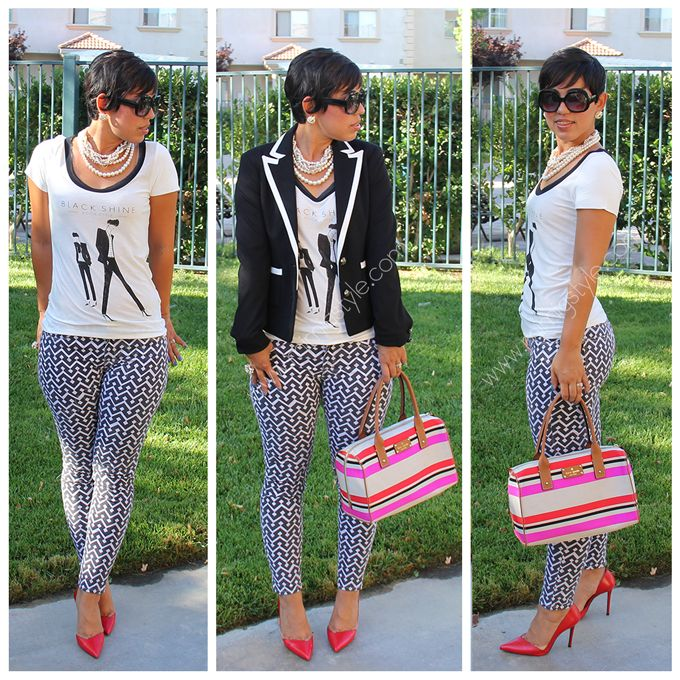 OOTD: Graphic Print Jeans & Red Heels