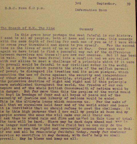 transcript of King George VI's speech