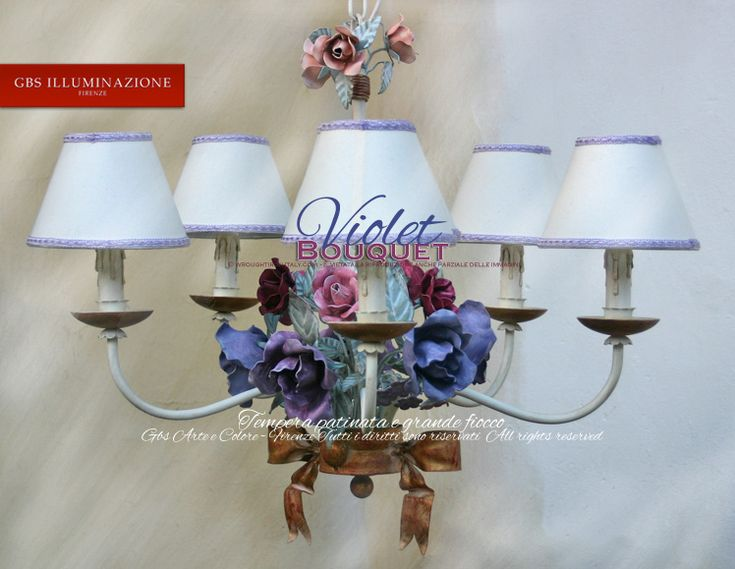 Roses. Violet bouquet romantic wrought iron chandelier