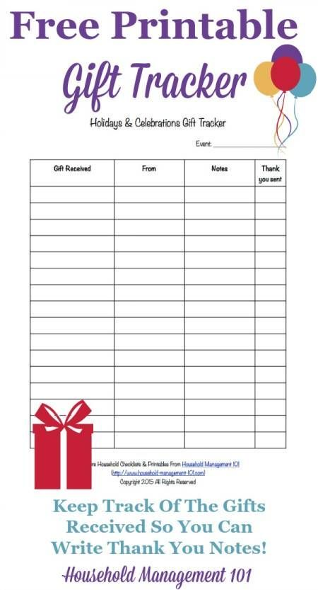Free printable gift tracker template to keep track of what gifts you receive so you can write thank you notes {courtesy of Household Management 101}