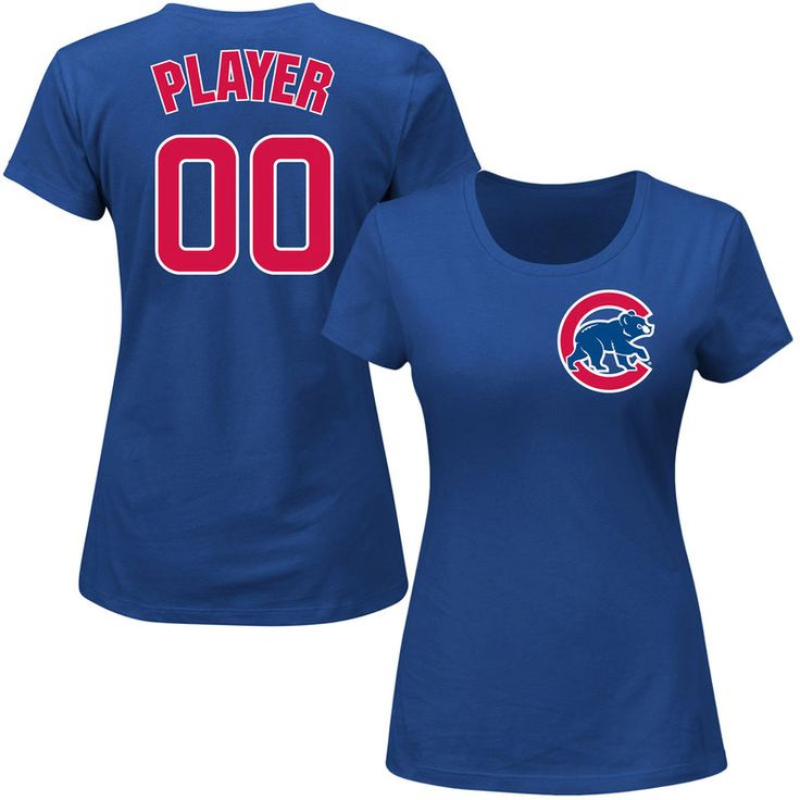 Chicago Cubs Majestic Women's Custom Roster Name & Number T-Shirt - Royal
