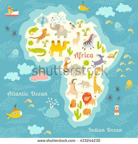 7 best world map images on pinterest world maps continents and animals world map africa beautiful colorful map illustration for children kids inscription gumiabroncs Images