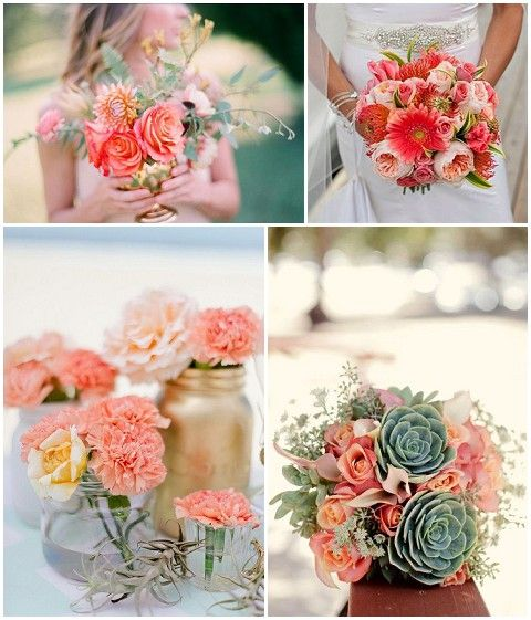 pretty green and coral wedding bouquets. Nice variety of textures.