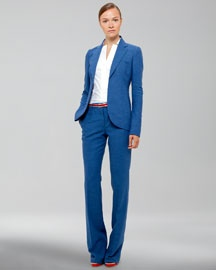 -40N4 Akris Sleeveless Notched Collar Blouse, Notched Collar Jacket,  Full-Length Pants & Belt