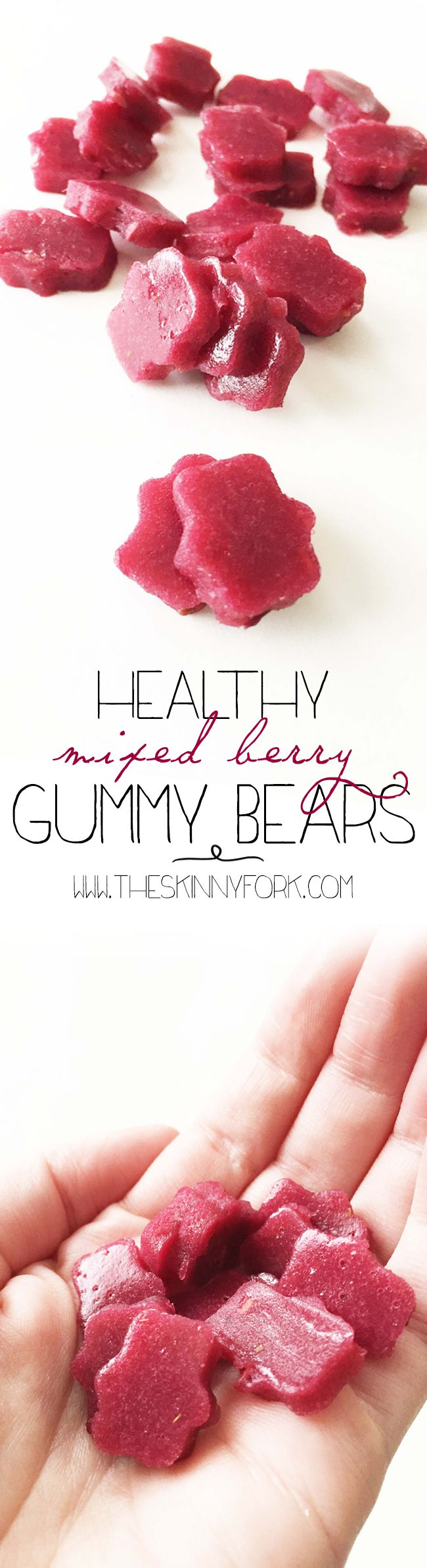 Healthy Mixed Berry Gummy Bears - Made with fruit juice, fresh fruit, and not much else! Healthy and homemade! Gluten free and all natural.