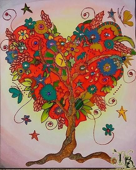 """Mixed Media Glass Painting in wooden frame called """"Tree Of Life"""". Size 30x25.  Using special transparent, opaque and pearl colors to make light effects.  Applying permanent waterproof paint. Finished with crystal resin made to perfection."""