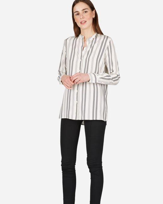 The Relaxed Silk Collarless Shirt - Everlane