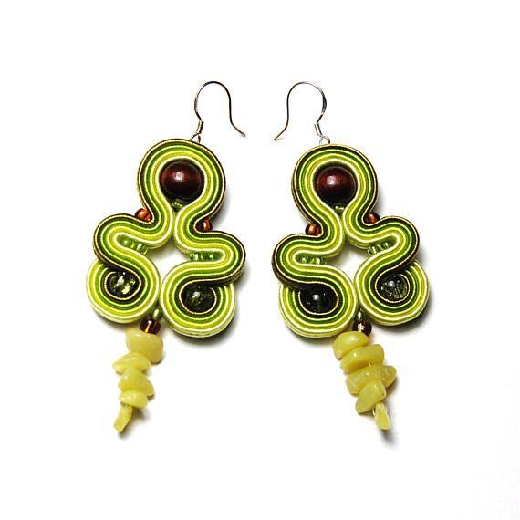 Soutache earrings green olive brown jewelry handmade shop to