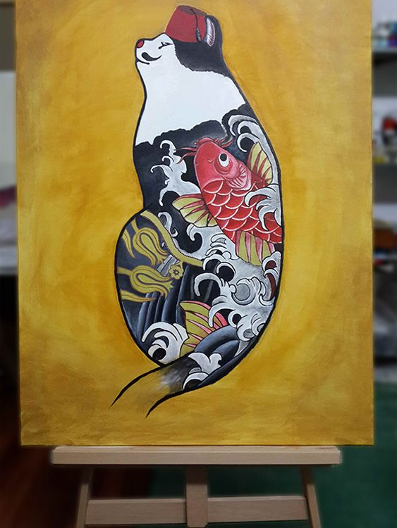 """Ottomanian meet far east tattoo"" - acrylic painting."