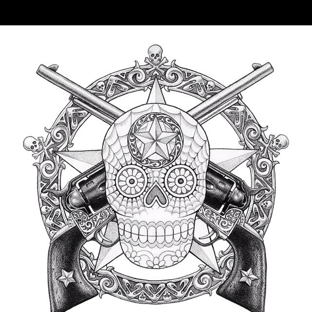 Skull And Guns Unfinished By Ifinch On Deviantart: Guns, Skulls And Sugar Skull On Pinterest