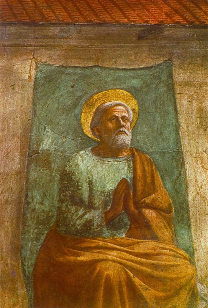 The Raising of the Son of Theophilus and St Peter Enthroned (detail) by MASACCIO