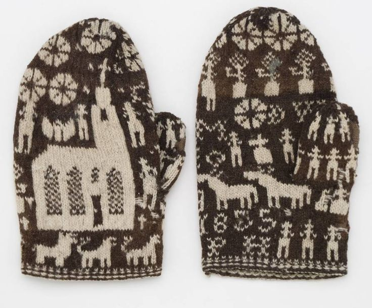 """Knitted gloves with motifs - Nordic Museum. """"4137 A pair of mittens fr. Dalsland. Af curious pattern. Purchased by the giver about 10 years ago on Vänersborgs squares by a peasant from Dalsland. Tagged: '1855.' Rather moth-eaten. G [Åva]. Af audit Secretaries. G. Ryding in Stockholm in March or April 1874. Car. Ryding. """""""