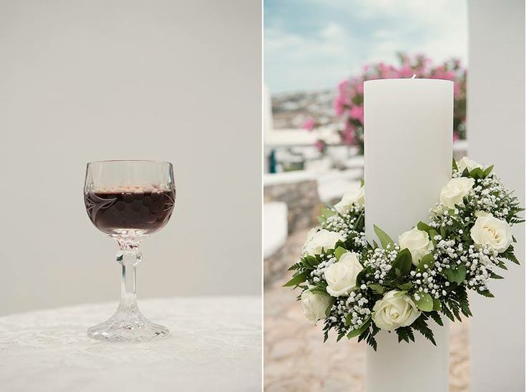 Greek Island Wedding, Bespoke Weddings, Destination Weddings Mykonos, Exclusive Greek Island Weddings, Greek Orthodox Wedding, Mykonos Weddings, Lambades, Red Wine for Ceremony  Photography by Anna Roussos