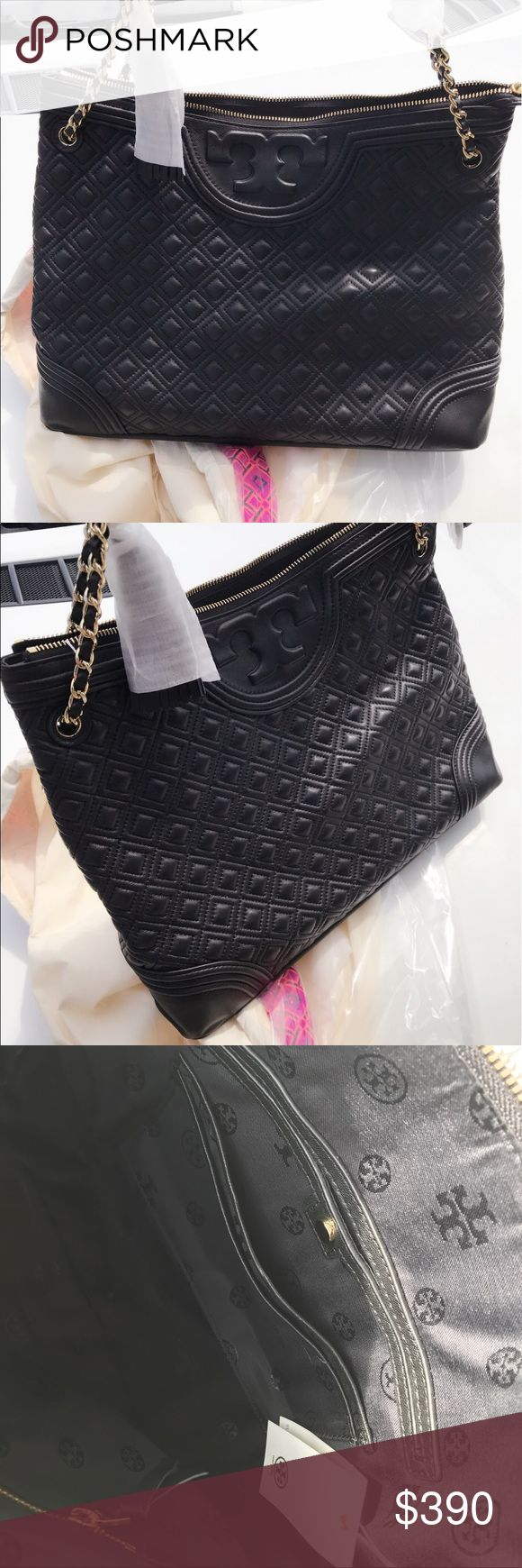 """NWT Tory burch Fleming Tote💯 Authentic Black tote with Tag. Holds a 13"""" laptop, a small umbrella, A4 paper, a continental wallet and an iPhone 6 Plus Leather Zipper closure Leather-and-chain strap with 9.96"""" (25 cm) drop 1 interior zipper pocket, 2 open pockets Height: 12.35"""" (31 cm) Length: 15.34"""" (38.5 cm) Depth: 5.58"""" (14 cm) Tory Burch Bags Totes"""