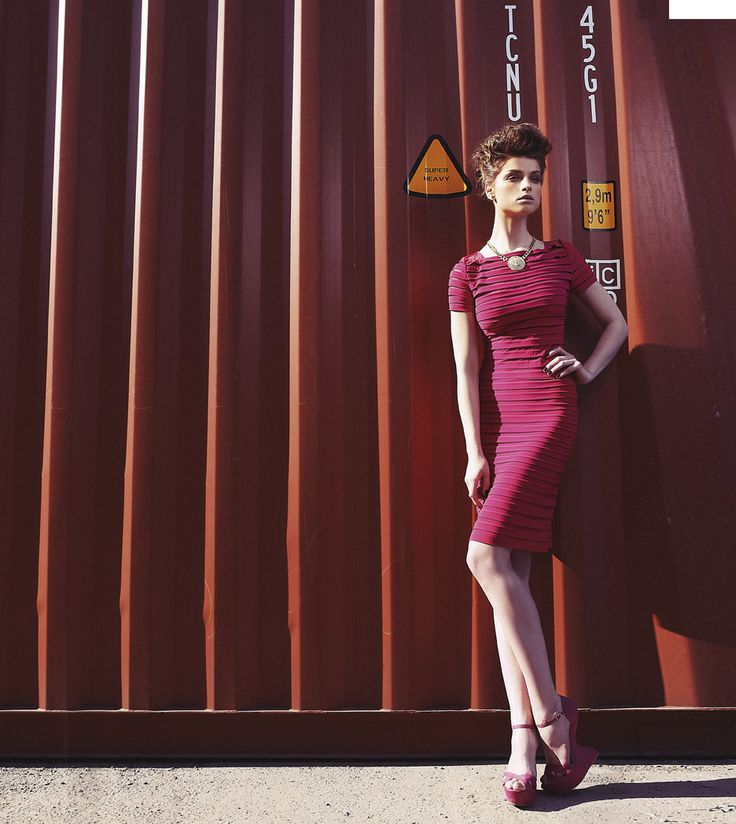 Amarisso New York New Collection Spring/Summer , fuchsia pleated dress with a short sleeve.