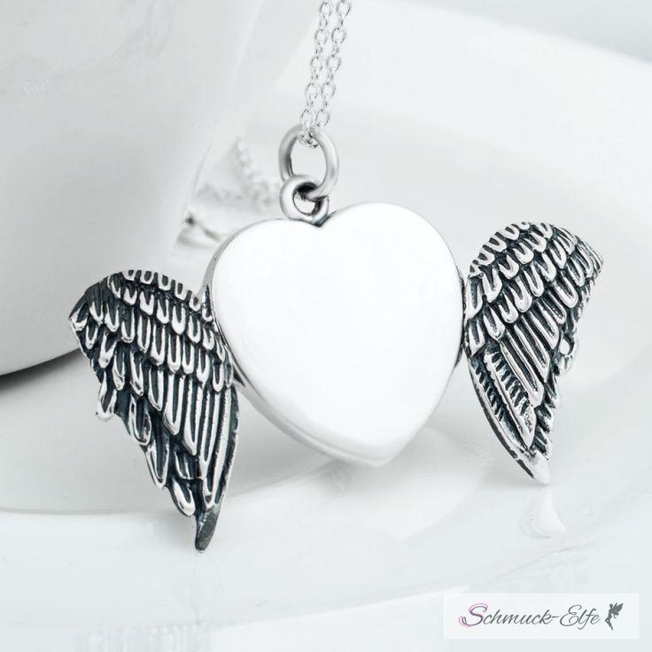 Medaillon Engelsflügel Herz aus 925 Silber inkl. Gliederkette 92