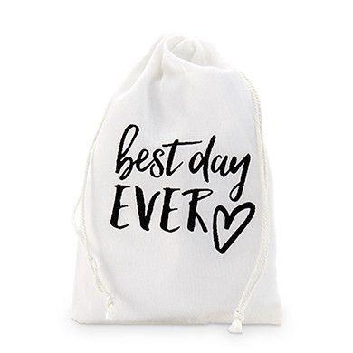 """best day ever"" Print Muslin Drawstring Favor Bag - Medium"