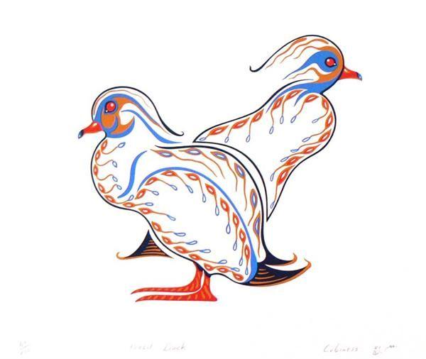 Wood Ducks by Eddy Cobiness (Ojibwe) - Contemporary Canadian Native, Inuit & Aboriginal Art - Bearclaw Gallery