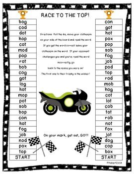 Race to the Top is a fast pace partner game that is great for your independent centers or for your small group instruction. This packet includes 6 game boards that focus on CVC words. There is one game board for each of the 5 vowels and the last game board is a combination of all the 5 vowels. Love that you can just print and play!!! :)