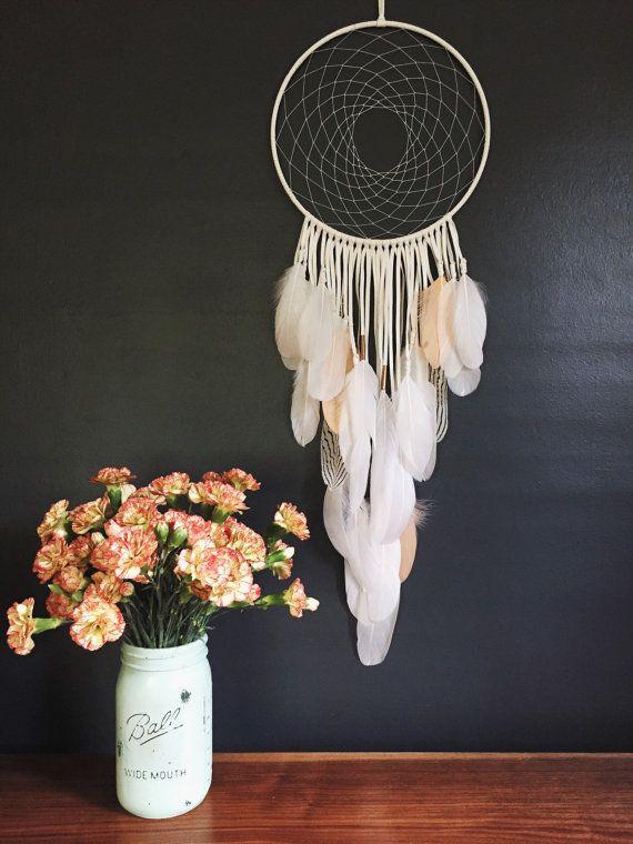 "White Leather Dream Catcher. Handmade Wall Hanging 10"" x 28"""
