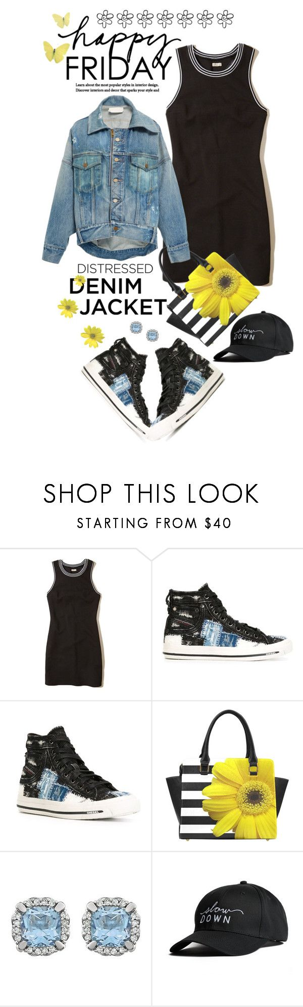 """""""Happy Friday!!!"""" by shortyluv718 ❤ liked on Polyvore featuring Hollister Co., Diesel, ATM by Anthony Thomas Melillo, Monse, cap, denimjacket, hightops and sneakers"""