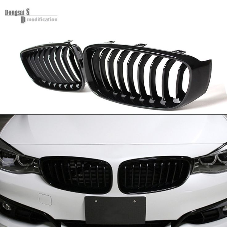 Single Grid Gloss Black Front Bumper Grill Replacement For