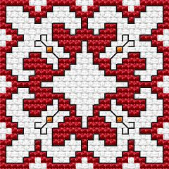 Bulgarian Motifs.Biscornu free cross stitch pattern