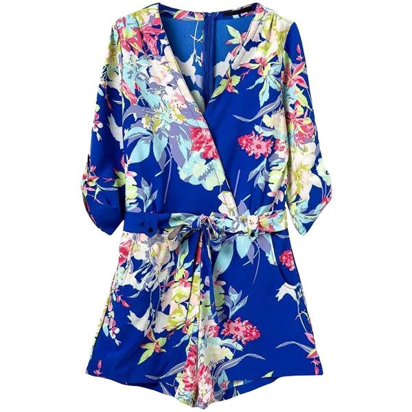 Pink Queen Blue Cross V Neck Floral Printed Half Sleeve Chic Ladies... ($38) ❤ liked on Polyvore featuring jumpsuits, rompers, dresses, playsuit, rompers/jumpsuits, shorts, blue, floral romper jumpsuit, blue romper and blue floral romper