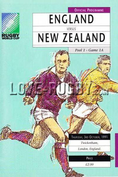 #rugby today 03/10 in 1991 : England 12-18 New Zealand - rugby world cup programme from Twickenham
