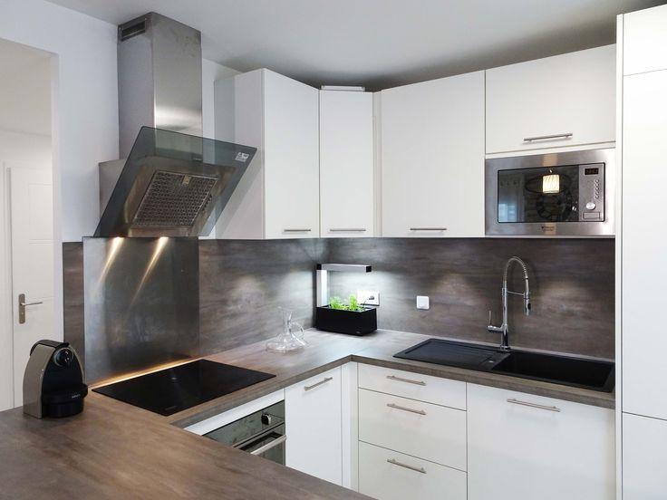 sandrine carr d coratrice cuisine blanc gris b ton plan de travail ilot inox r alisatio. Black Bedroom Furniture Sets. Home Design Ideas